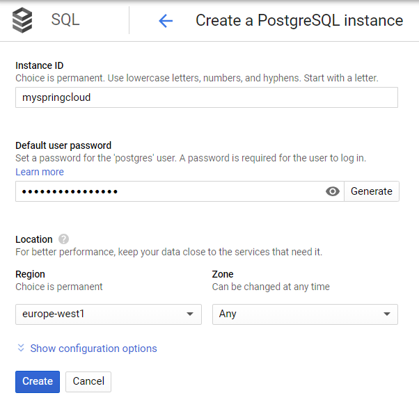 create PostgreSQL isntance configuration