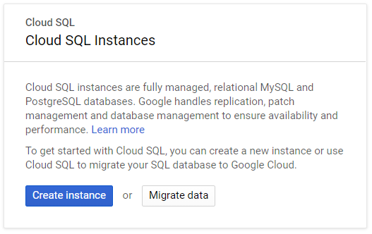 create sql instance
