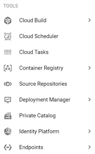GCP tools menu