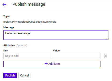 GCP PubSub - Publish message contents