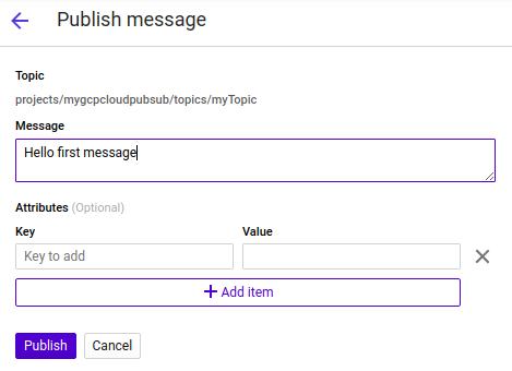 GCP PubSub - Publish message contents