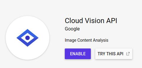 Cloud Vision - Enable API